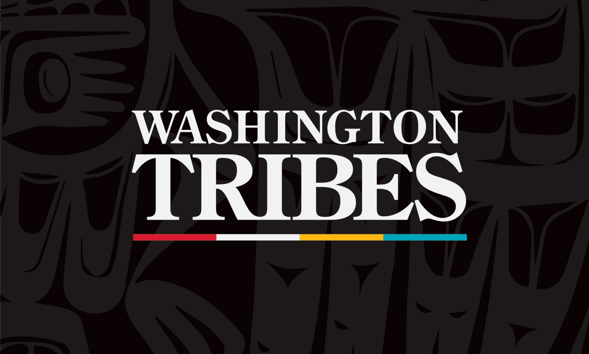 Washington Tribes logo on PNW Native pattern